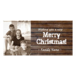 Dark Wood Photo Christmas Card Personalised Photo Card