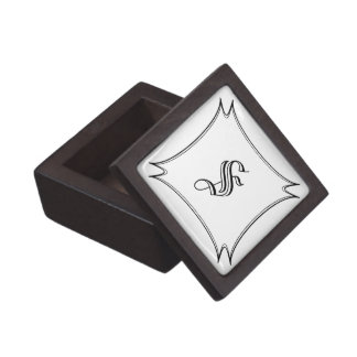 Dark Wood Ring Box with Custom Calligraphy Initial Premium Trinket Boxes