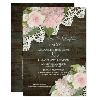 Dark Wood Save the Date Photo Lace Pink Hydrangea Card