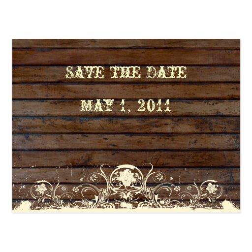 Dark Wood Save the Date Postcard