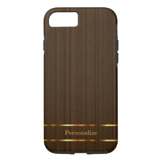 Dark Wood with Gold Bars iPhone 7 Case