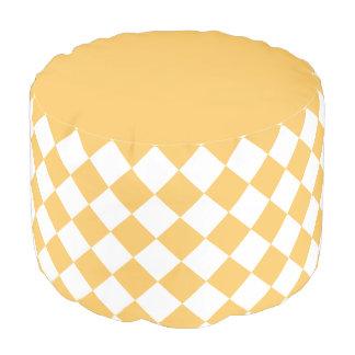 Dark Yellow Diamond Pattern Round Pouffe