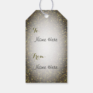 Dark Yellow Gold Glitter Gift Tags
