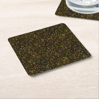 Dark Yellow Gold Glitter Square Paper Coaster