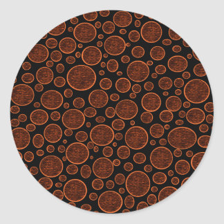 Darkened Orange Bubbles Classic Round Sticker