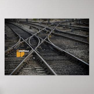 Darkfield train tracks poster