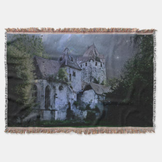 Darkness Halloween Castle Throw Blanket