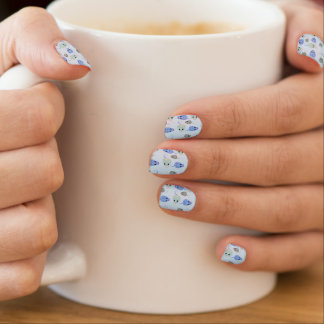Darlene's Blue and Brown Mouses Minx Nail Art