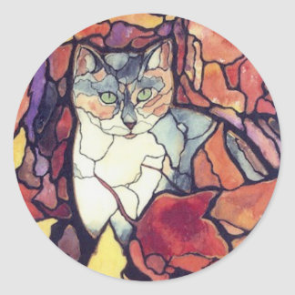"Darling Autumn Leaves Kitty Cat ""stained glass"" Classic Round Sticker"