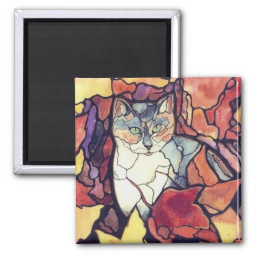 """Darling Autumn Leaves Kitty Cat """"stained glass"""" Magnets"""