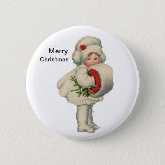 Darling Christmas Snow Girl 6 Cm Round Badge