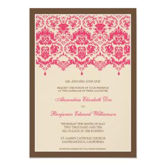 "Darling Damask Lace 5x7 Wedding Invitation: pink 5"" X 7"" Invitation Card"