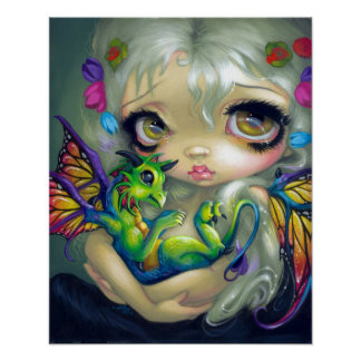 Darling Dragonling IV ART PRINT dragon fairy CUTE