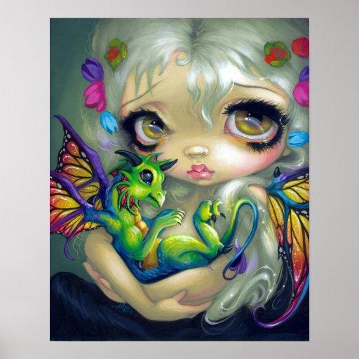 Darling Dragonling IV ART PRINT dragon fairy CUTE