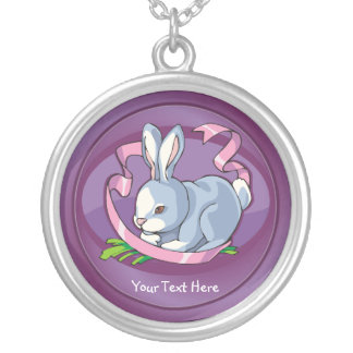 Darling Happy Easter Bunny with Ribbon Necklace