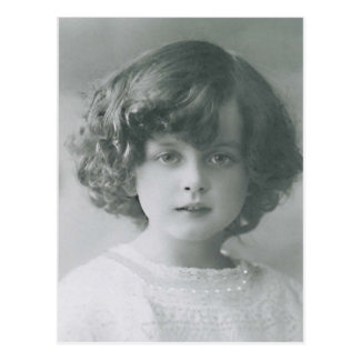 Darling Little Girl Curly Hair Vintage Style PC Postcard