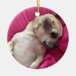 Darling Puppy Chug Dog Christmas Ornament Pink