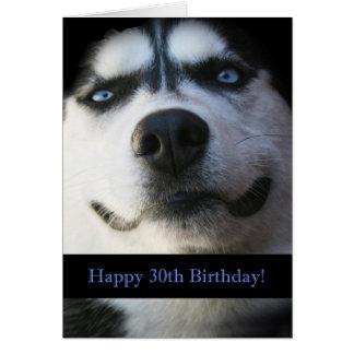 Darling Smiling Husky Funny 30th Birthday Card
