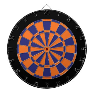 Dart Board: Orange, Navy, And Black Dartboard