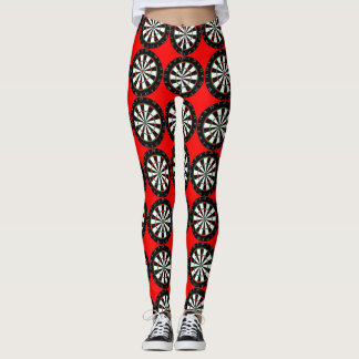 Dart Boards Pattern Red Leggings