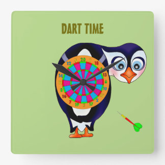 Dart Penguin by The Happy Juul Company Square Wall Clock