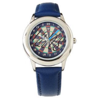Dartboard Bullseye Logo, Kids Blue Leather Watch