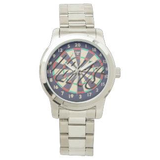 Dartboard Bullseye Logo Unisex Large Silver Watch