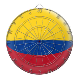 Dartboard with 6 darts Colombia Colombian flag