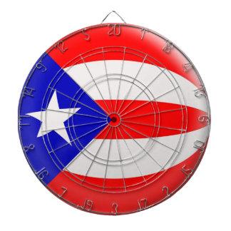 Dartboard with 6 darts Puerto Rico flag