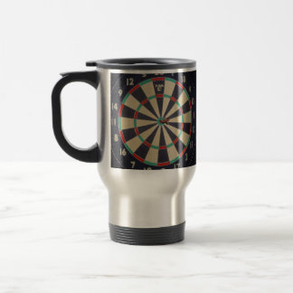 Dartboard With Dart In Bullseye, Travel Mug