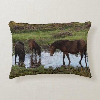 Dartmoor Ponies Drinking At Watering Hole Accent Cushion