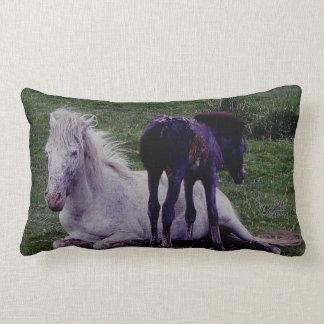 Dartmoor Pony Grey Mare Resting With Foal Lumbar Pillow