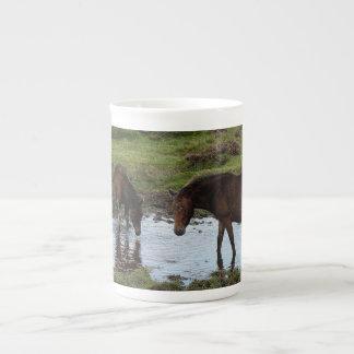 Dartmoor Three Ponies Drinking At Watering Hole Tea Cup