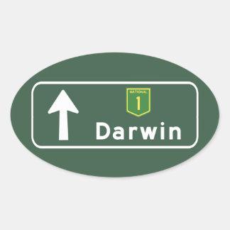 Darwin, Australia Road Sign Oval Sticker