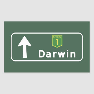 Darwin, Australia Road Sign Rectangular Sticker