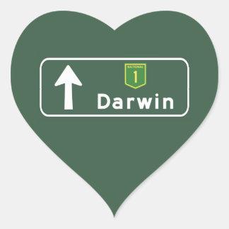 Darwin, Australia Road Sign Heart Sticker