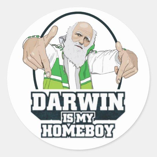 Darwin Is My Homeboy (Full Colour) Round Sticker