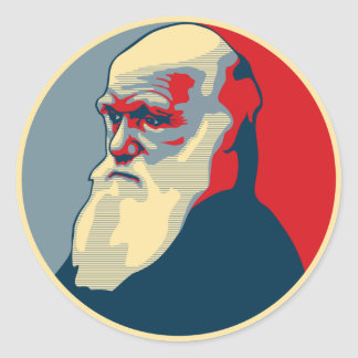 Darwin, no text classic round sticker