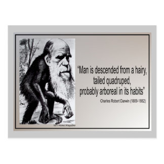 Darwin Quote ~ Man is Descended From a Hairy Postcard