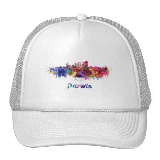 Darwin skyline in watercolor cap