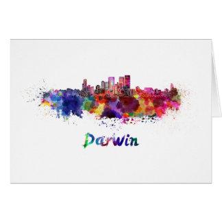 Darwin skyline in watercolor card