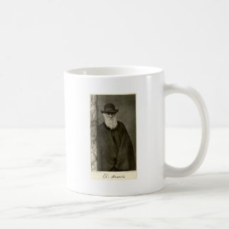 Darwin standing next to a pillar, published 1908 coffee mug