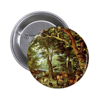 Das Paradies By Jan Brueghel The Elder (Best Quali 6 Cm Round Badge