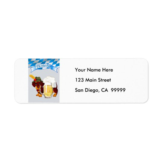 Daschund Oktoberfest Return Address Label