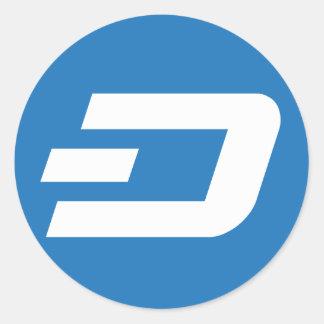 Dash Sticker, Blue Background Round Sticker