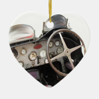 Dashboard and steering wheel of classic sport car ceramic heart decoration