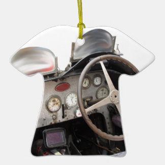 Dashboard and steering wheel of classic sport car ceramic T-Shirt decoration