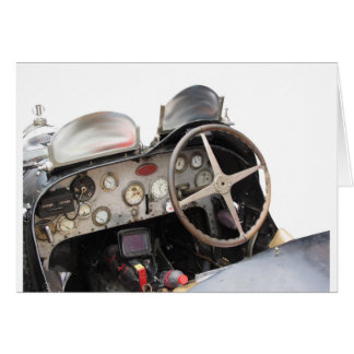 Dashboard and steering wheel of classic sport car greeting card
