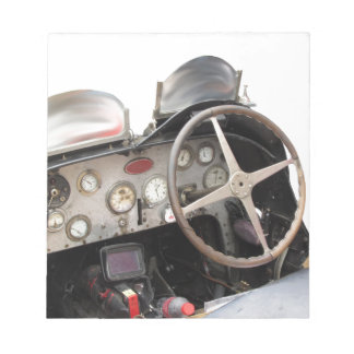 Dashboard and steering wheel of classic sport car memo note pad