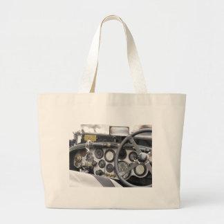 Dashboard of british classic sport car jumbo tote bag